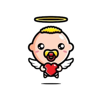 愛の心を抱き締めるかわいいキューピッドの赤ちゃん