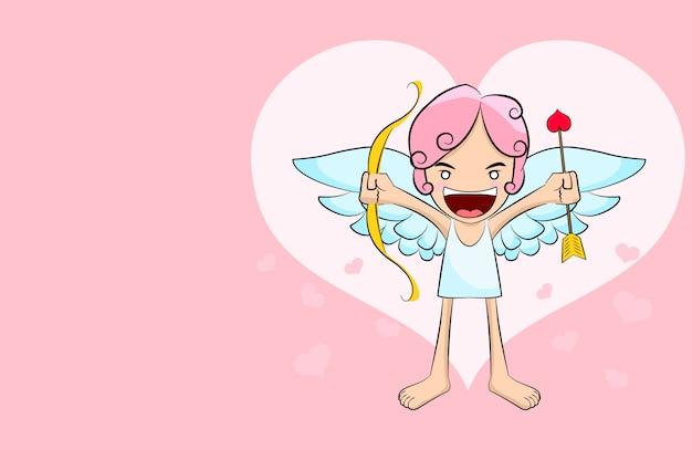 Милый мультфильм амур на фоне розового сердца