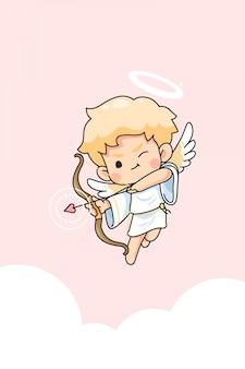 Cute cupid cartoon for valentine day concept