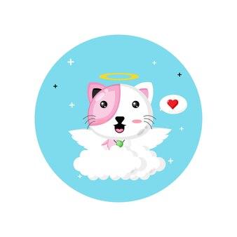 Милый кот купидон летать над облаками