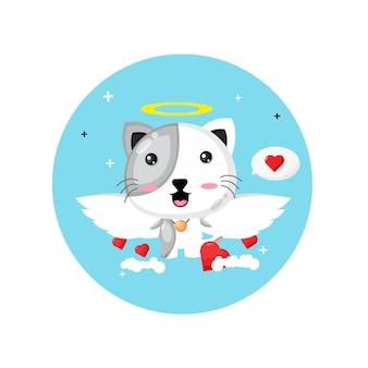 Милый кот купидон летит в небе
