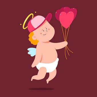 Cute cupid delivery with heart shaped balloons  cartoon character isolated on background.