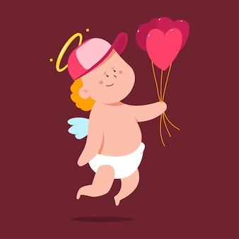 심장 모양의 풍선 만화 캐릭터 배경에 고립 된 귀여운 큐 피드.