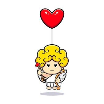 사랑 풍선에 떠있는 귀여운 큐피드