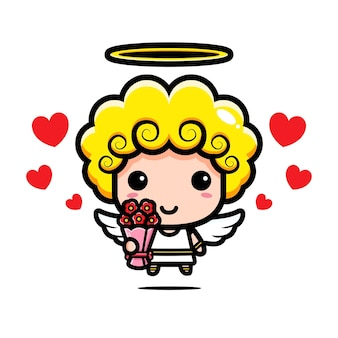 Cute cupid giving a bouquet of flowers