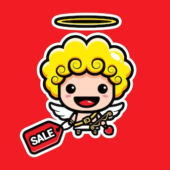 Cute cupid holding discount coupons