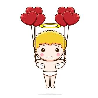 Милый амур держит воздушный шар любви
