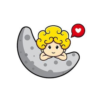 사랑으로 달에서 보는 귀여운 큐피드