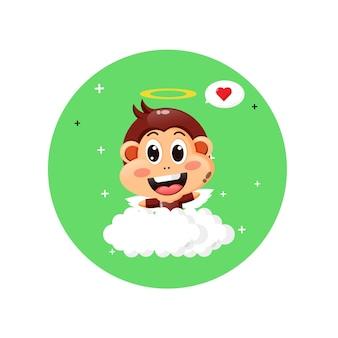 かわいいキューピッドモンキーは雲の上を飛ぶ