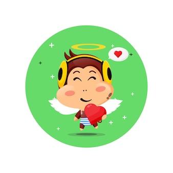 Cute cupid monkey hugging love hearts