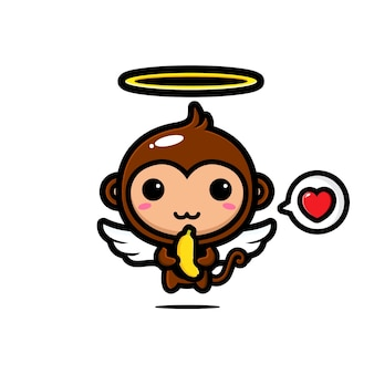 Cute cupid monkeys love bananas