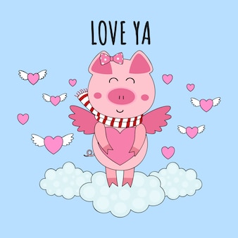 Cute cupid pig piglet with heart