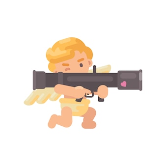 Cute cupid shooting a bazooka
