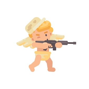 Cute cupid shooting a rifle