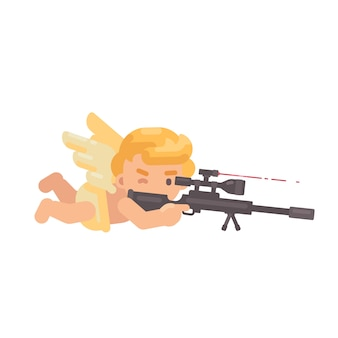 Cute cupid shooting a sniper rifle