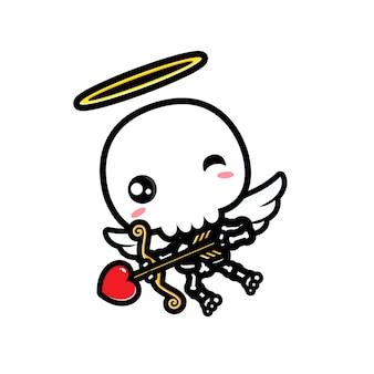 귀여운 큐피드 해골 디자인 캐릭터