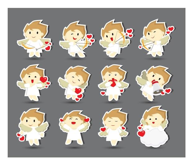 Cute cupid stickers with twelve alternative poses