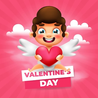Cute cupid valentine's day greeting card