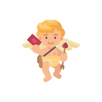Cute cupid with an arrow and a greeting card