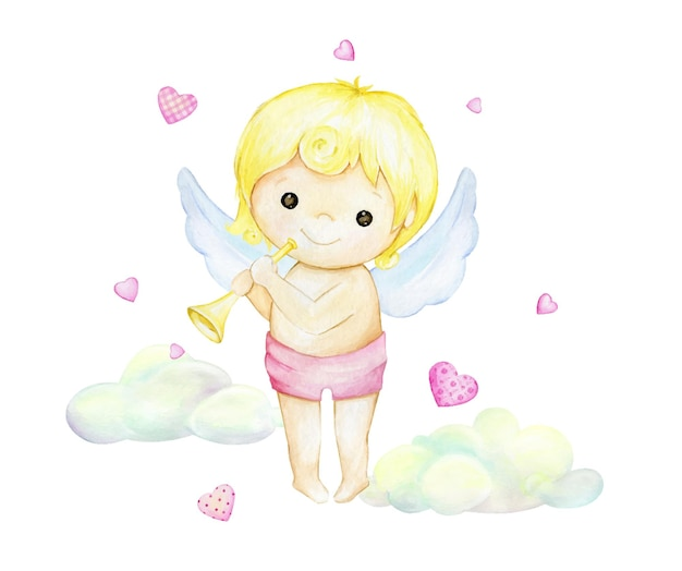 Cute cupid, with a flute, on the background of clouds and hearts.