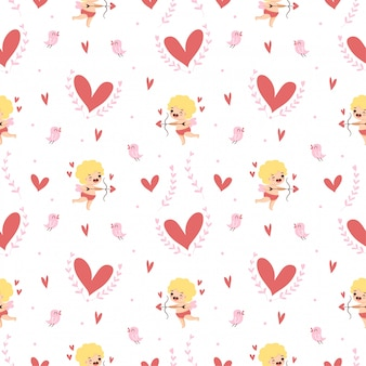 Cute cupid with hearts and a little bird seamless pattern for valentine