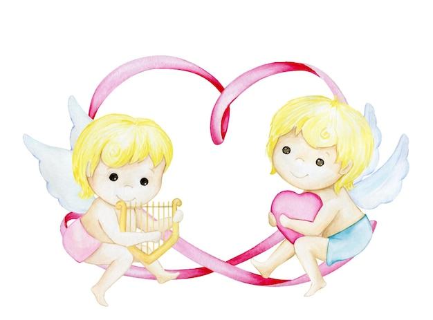 Cute cupids, on the background of a heart, from a ribbon.