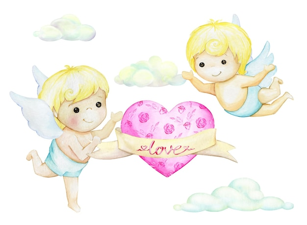 Cute cupids flying on the background of clouds and hearts.