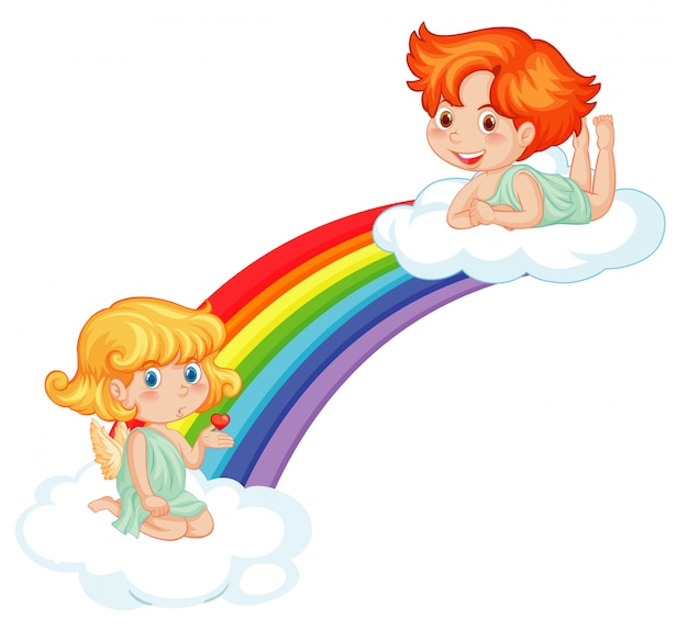 Cute cupids on rainbow