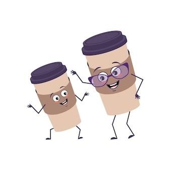 행복한 감정을 가진 귀여운 커피 캐릭터