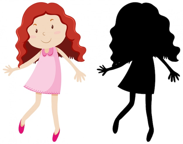 Cute curl hair girl in colour and silhouette