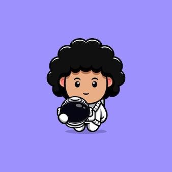 귀여운 곱슬 우주 비행사 만화 캐릭터