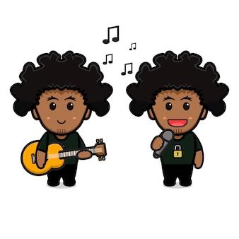 기타를 연주하고 만화 아이콘을 노래하는 귀여운 곱슬 소년. 흰색으로 격리된 디자인