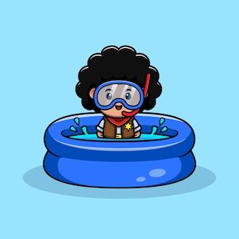 여름에 수영하는 귀여운 곱슬 카우보이