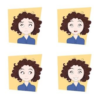 Cute curly girl with different facial emotions set of young woman face expressions