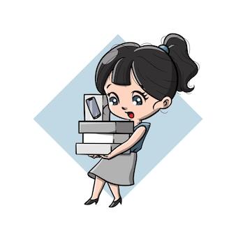귀여운 사이버 소녀 만화