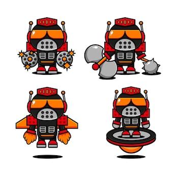 Симпатичный дизайн персонажа-киборга, готовый к битве