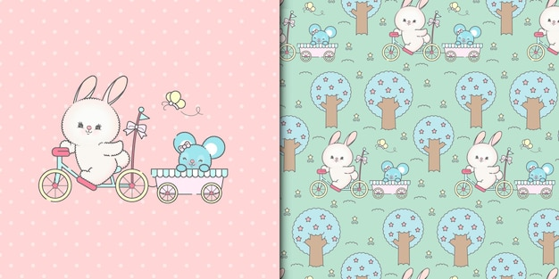 Cute cycling bunny and mouse with seamless pattern