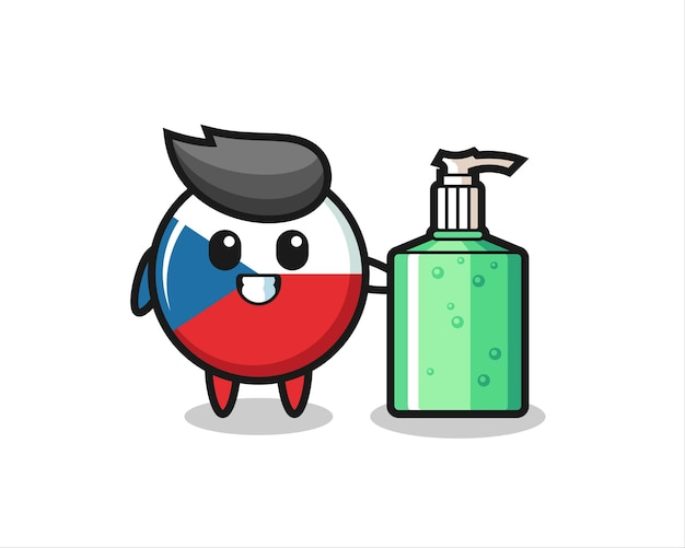 Cute czech republic flag badge cartoon with hand sanitizer , cute style design for t shirt, sticker, logo element