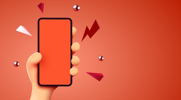 Cute d cartoon hand holding mobile smart phone modern mockup