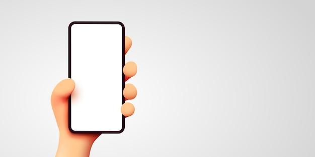 Милый d мультфильм рука мобильный смартфон современный макет