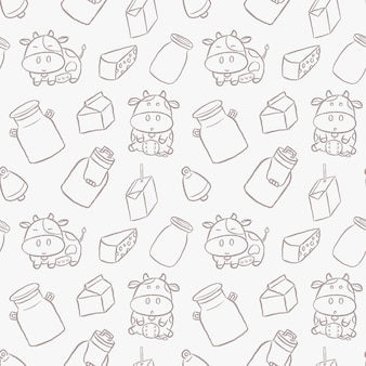 Cute dairy cows hand drawn cartoon style seamless pattern.