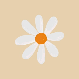 Cute daisy flower element vector in beige background hand drawn style