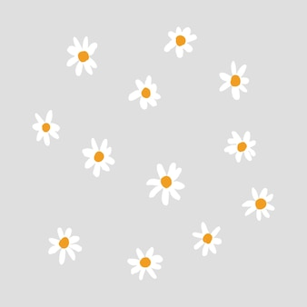 Cute daisy flower element vector in gray background hand drawn style