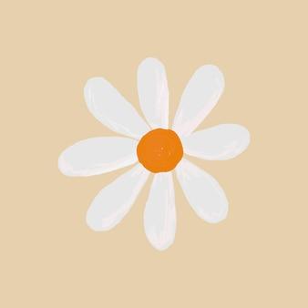 베이지색 배경 손으로 그린 스타일에 귀여운 데이지 꽃 요소 벡터