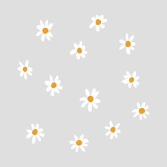 灰色の背景の手描きスタイルのかわいいデイジー花要素ベクトル