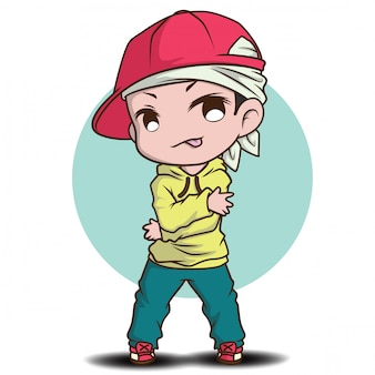Cute Dancer Cartoon Character Job Concept Premium Vector