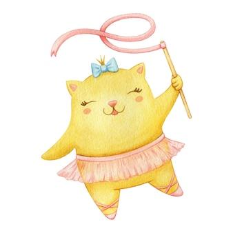 Милая танцующая кошка балерина