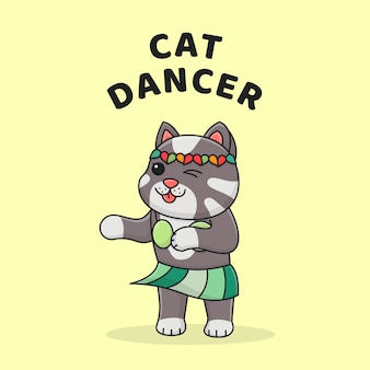 Cute dancing cat with funny costume