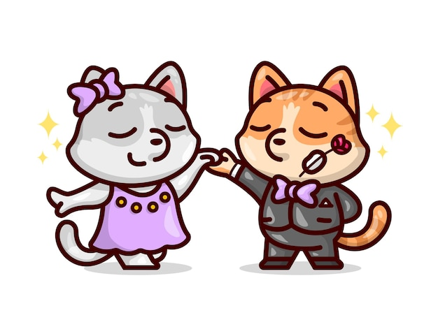 Cute dancing couple cat in luxurious outfit