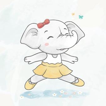 Cute dancing elephant girl water color cartoon hand drawn